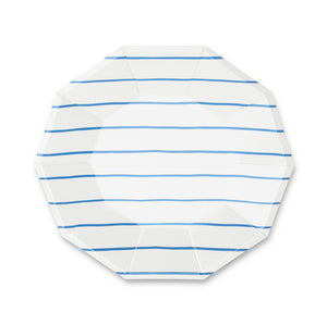 Frenchie Striped Large Paper Plates - Cobalt Blue - Ellie and Piper