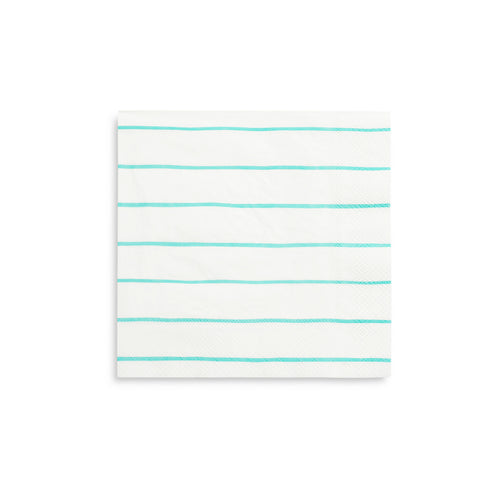 Frenchie Striped Large Napkins - Aqua Blue - Ellie and Piper