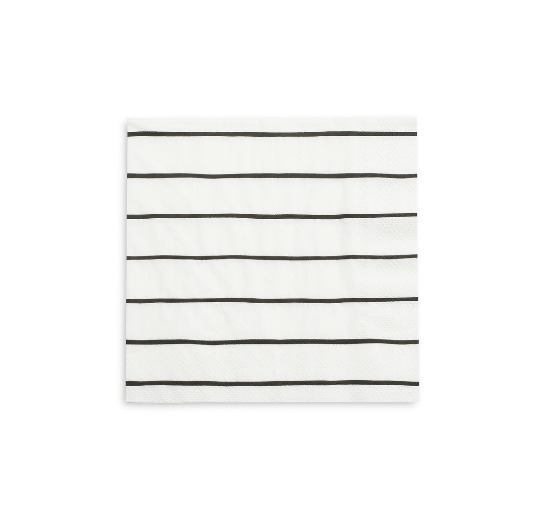 Frenchie Striped Large Napkins - Black Ink - Ellie and Piper