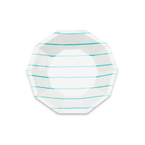 Frenchie Striped Small Plates - Aqua Blue - Ellie and Piper