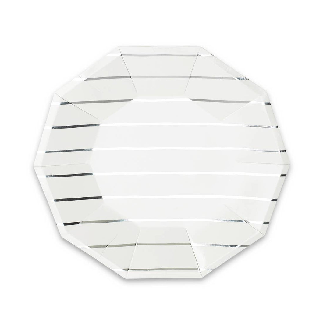 Frenchie Striped Large Paper Plates - Metallic Silver - Ellie and Piper