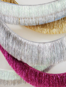 Silver Iridescent Tinsel Fringe Garland - Ellie and Piper