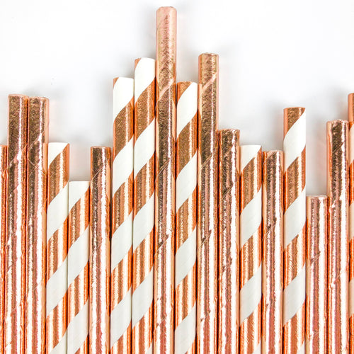 Rose Gold Party Straws - Ellie and Piper