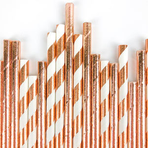 Rose Gold Party Straws