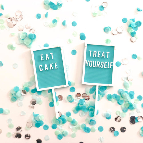 Turquoise Blue Letter Board Cake Topper - 'Eat Cake' - Ellie and Piper