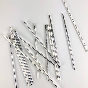Silver Party Straws