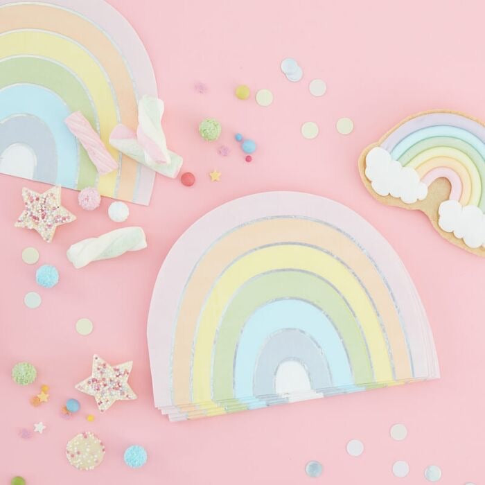 Pastel Rainbow Shaped Iridescent Foiled Paper Napkins - Ellie and Piper