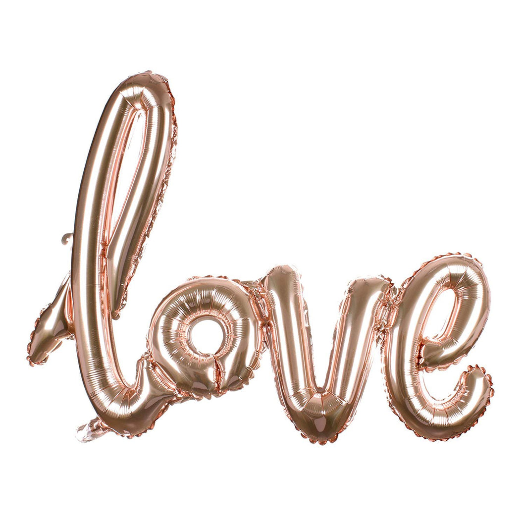 'love' Script Foil Balloon - Rose Gold