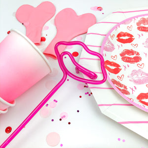 Pink Kiss Me Lips Silly Straws