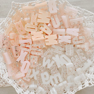 Iridescent Sparkly Resin Alphabet Set - Sorbet - Ellie and Piper