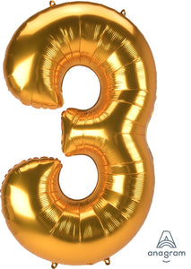 Foil Jumbo Number 3 Balloon (3 Colors) Ellie & Piper Party Boutique