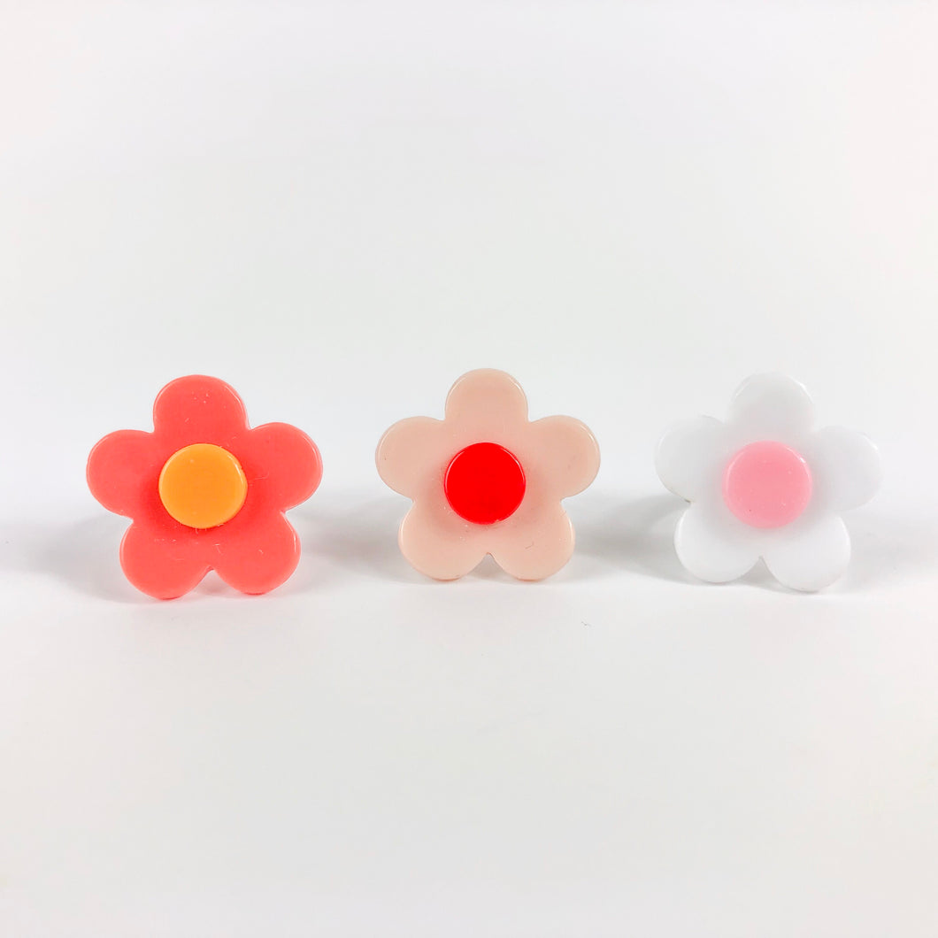 Boho Daisy Flower Rings - Set of 3 - Ellie and Piper