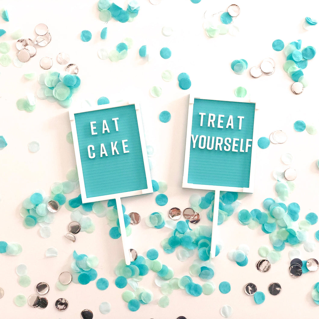 Turquoise Blue Letter Board Cake Topper - 'Treat Yourself' - Ellie and Piper