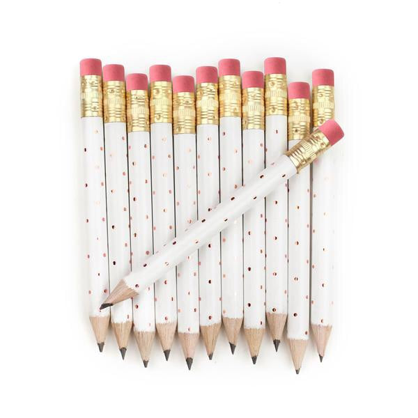 Rose Gold Polka Dot Mini Pencils