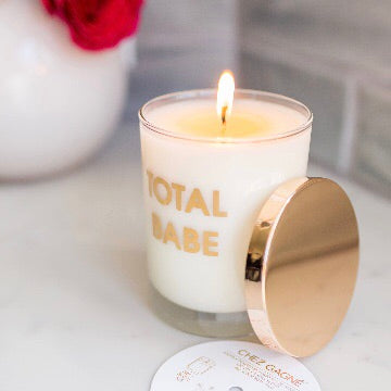 Gold Metallic Total Babe Candle and Rocks Glass by Chez Gagne