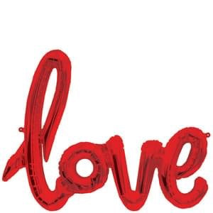 'love' Script Foil Balloon - Red