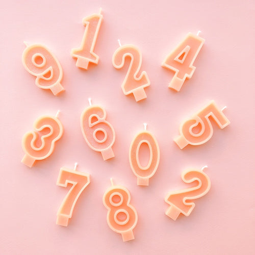 Peach Glitter Number Candles