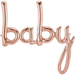"Foil Balloon for Baby Shower | Rose Gold - ""baby"""