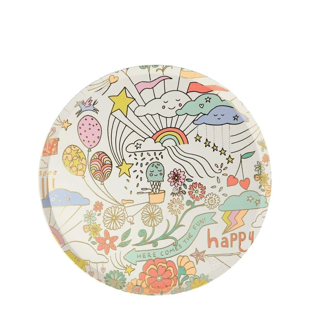 Happy Doodle Side Paper Plates - Ellie and Piper
