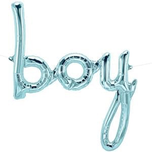 'boy' Script Foil Balloon - Blue