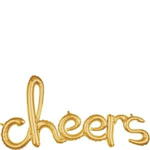 'cheers' Script Foil Balloon - Gold