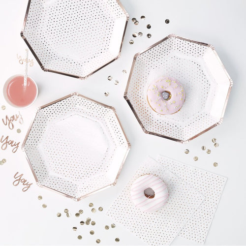Rose Gold Foiled Dotted Paper Plates - Ellie and Piper
