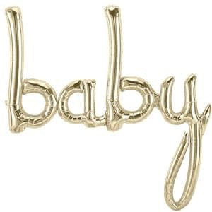 "Foil Balloon for Baby Shower | White Gold - ""baby"""