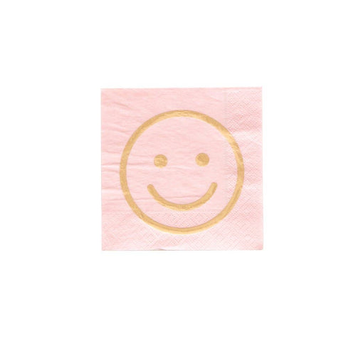 Blush Pink Smiley Face Cocktail Napkins - Ellie and Piper