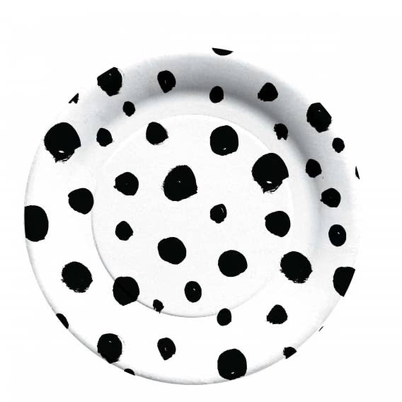 Black and White Spotted Small Paper Plate - Ellie and Piper