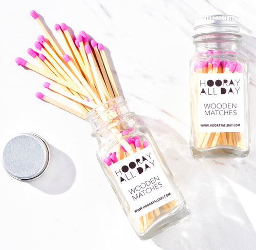Colorful Wooden Matches in Glass Bottle - Pink or Blue - Ellie and Piper