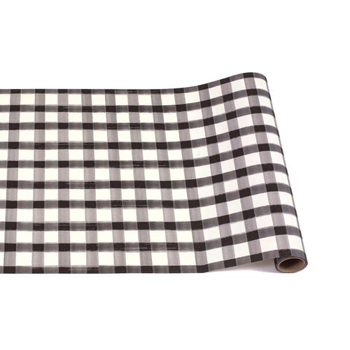Black Painted Gingham Checkered Table Runner - Ellie and Piper