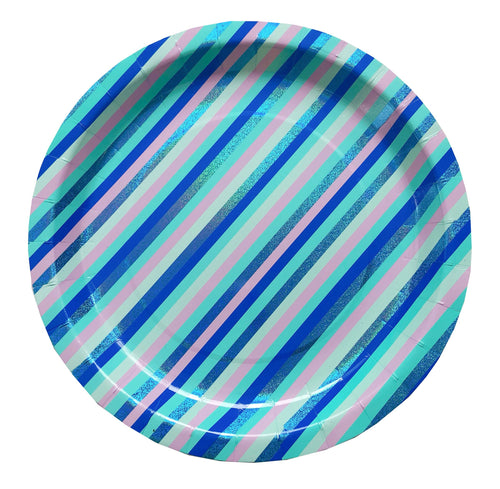 Mystic Stripe Large Paper Plates - Ellie and Piper