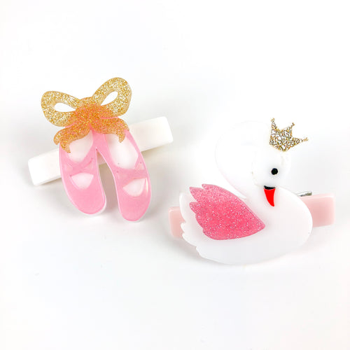 Swan + Ballet Shoes Hair Clips