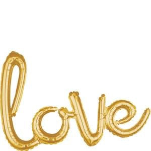 'love' Script Foil Balloon - Gold