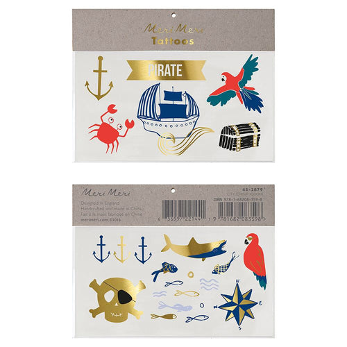 Under the Sea Pirate Temporary Tattoos - Ellie and Piper