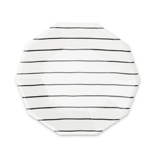 Frenchie Striped Large Plates - Black Ink