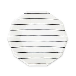 Frenchie Striped Large Paper Plates - Black Ink - Ellie and Piper
