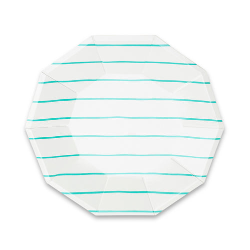 Frenchie Striped Large Paper Plates - Aqua Blue - Ellie and Piper