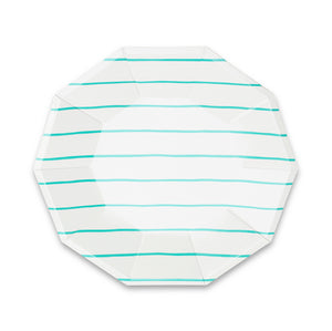 Frenchie Striped Large Plates - Aqua Blue