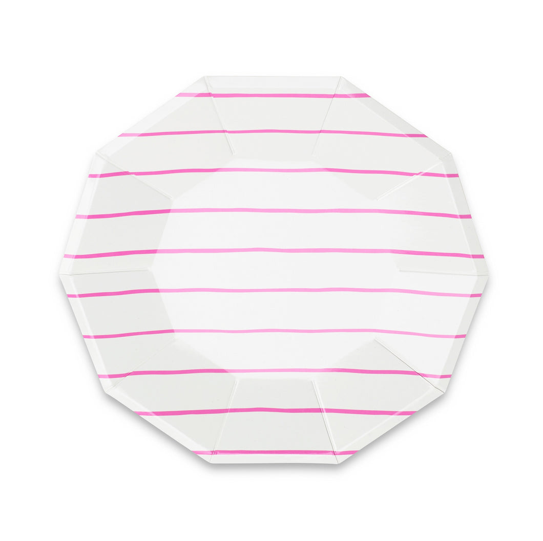 Frenchie Striped Large Paper Plates - Cerise Pink - Ellie and Piper