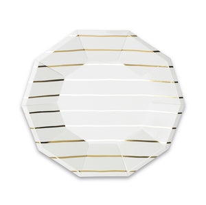 Frenchie Striped Large Paper Plates - Metallic Gold - Ellie and Piper