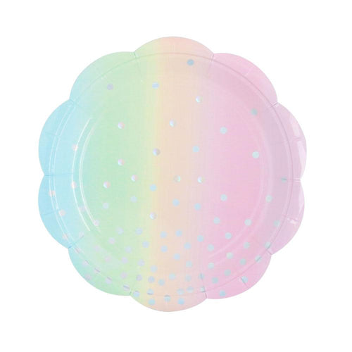 Iridescent Pastel Rainbow Dessert Paper Plates - Ellie and Piper