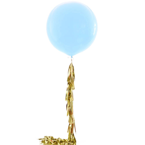 Jumbo Balloon - Light Blue w/ Gold Tassels - Ellie and Piper