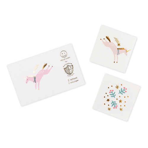 Magical Unicorn Christmas Temporary Tattoos