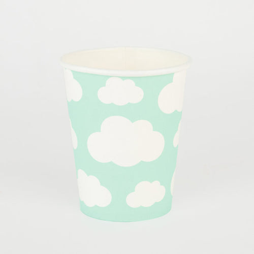 Mint Cloud Print Paper Cups - Ellie and Piper