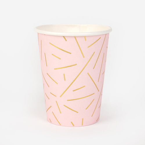 Pink and Golden Rays Paper Cups - Ellie and Piper