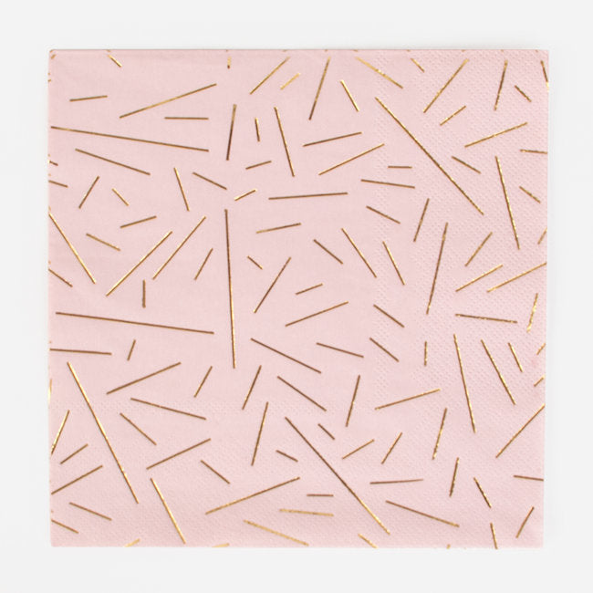 Pink and Golden Rays Paper Napkins - Ellie and Piper