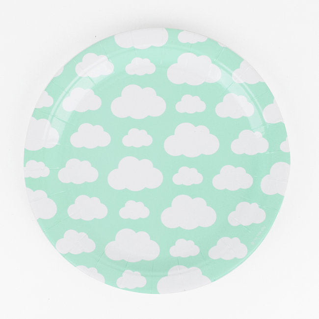Mint Green Cloud Print Paper Plates - Ellie and Piper