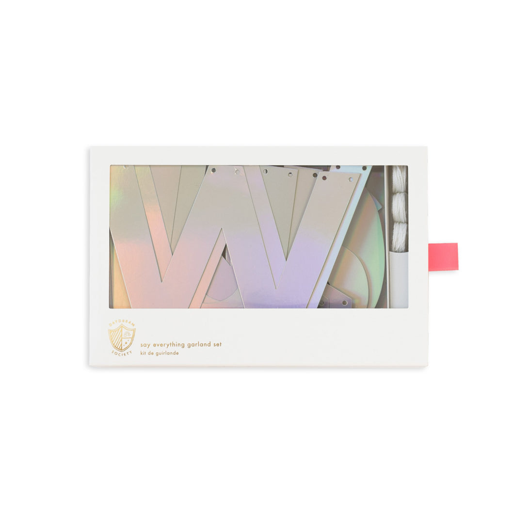 Say Everything Banner Set - Silver Holographic Foil - Ellie and Piper