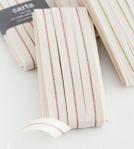 METALLIC LINE TIGHT WEAVE COTTON RIBBON | WOOD PADDLE 10 YARDS - NATURAL/ROSE GOLD